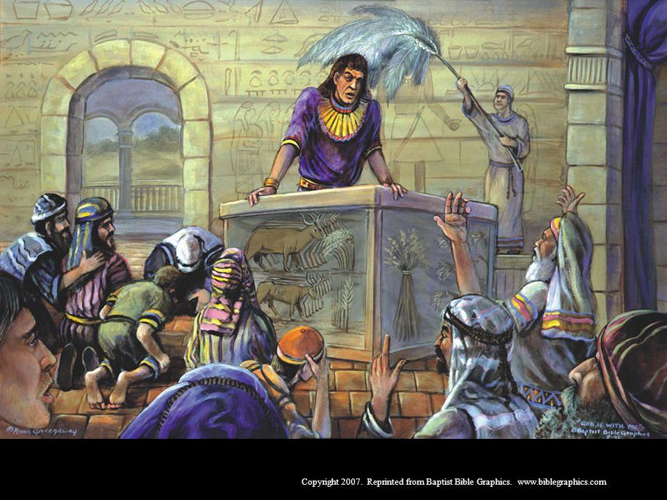José, Gên. 37-50. José tinha 17 anos quando seus irmãos o venderam como escravo. Deus deu-lhe poder em todo o Egito e força para perdoar os irmãos. Deus fez com que Faraó tratasse bem o povo de Israel. Deus é onipotente.