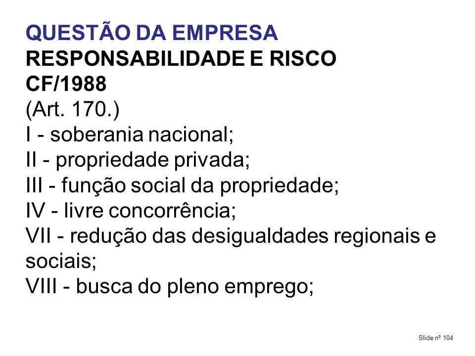 RESPONSABILIDADE E RISCO CF/1988 (Art. 170.) I - soberania nacional;