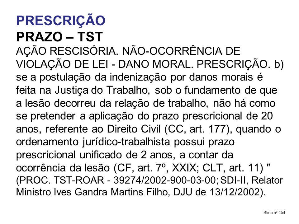 PRESCRIÇÃO PRAZO – TST.