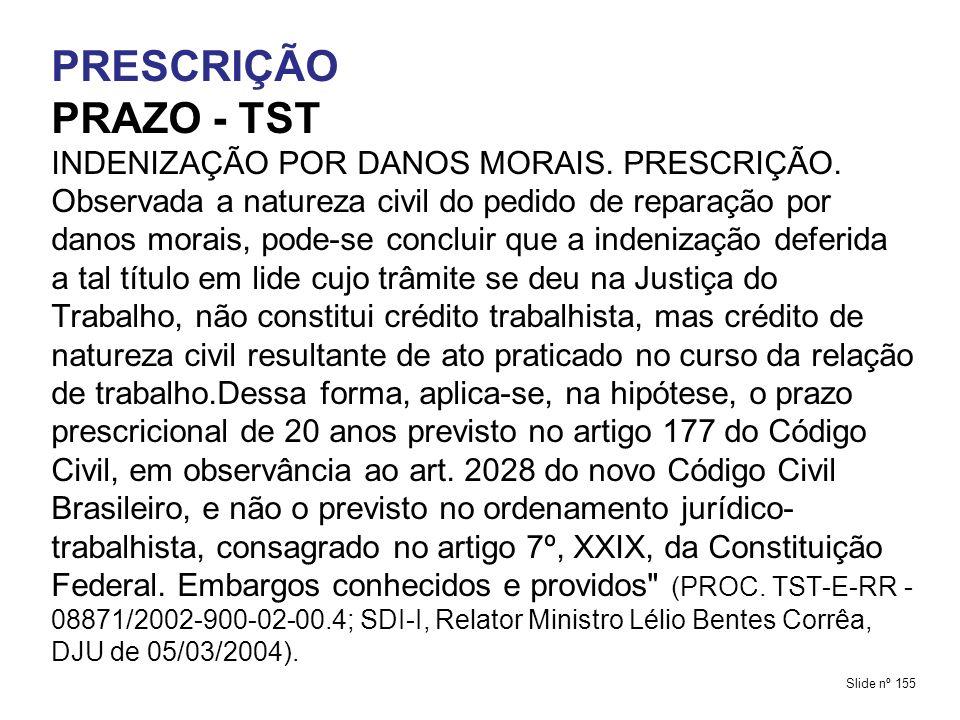 PRESCRIÇÃO PRAZO - TST.