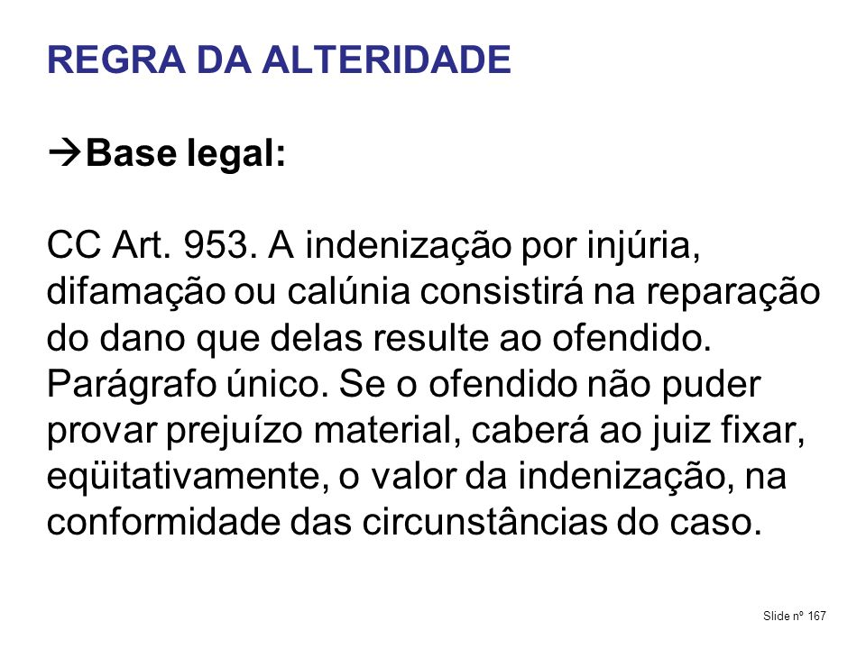 REGRA DA ALTERIDADE Base legal: CC Art. 953