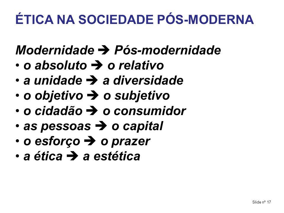 ÉTICA NA SOCIEDADE PÓS-MODERNA Modernidade  Pós-modernidade
