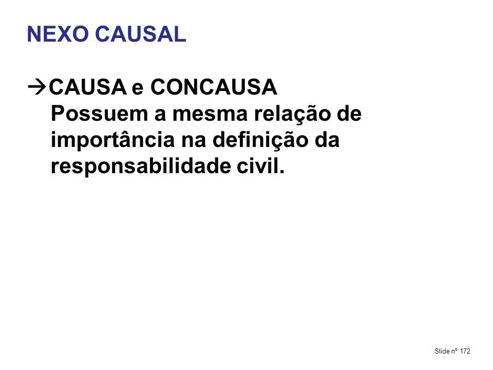 NEXO CAUSAL CAUSA e CONCAUSA Possuem a mesma relação de importância na definição da responsabilidade civil.