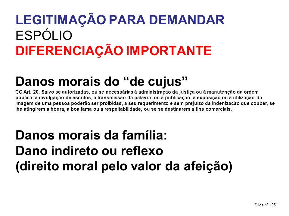 LEGITIMAÇÃO PARA DEMANDAR ESPÓLIO DIFERENCIAÇÃO IMPORTANTE