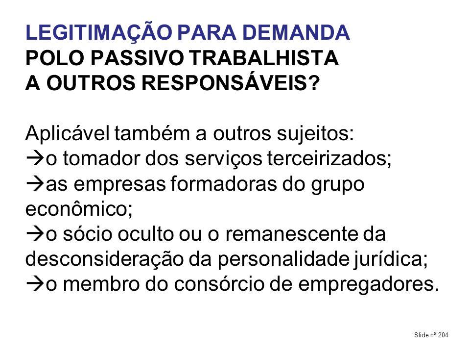 LEGITIMAÇÃO PARA DEMANDA POLO PASSIVO TRABALHISTA