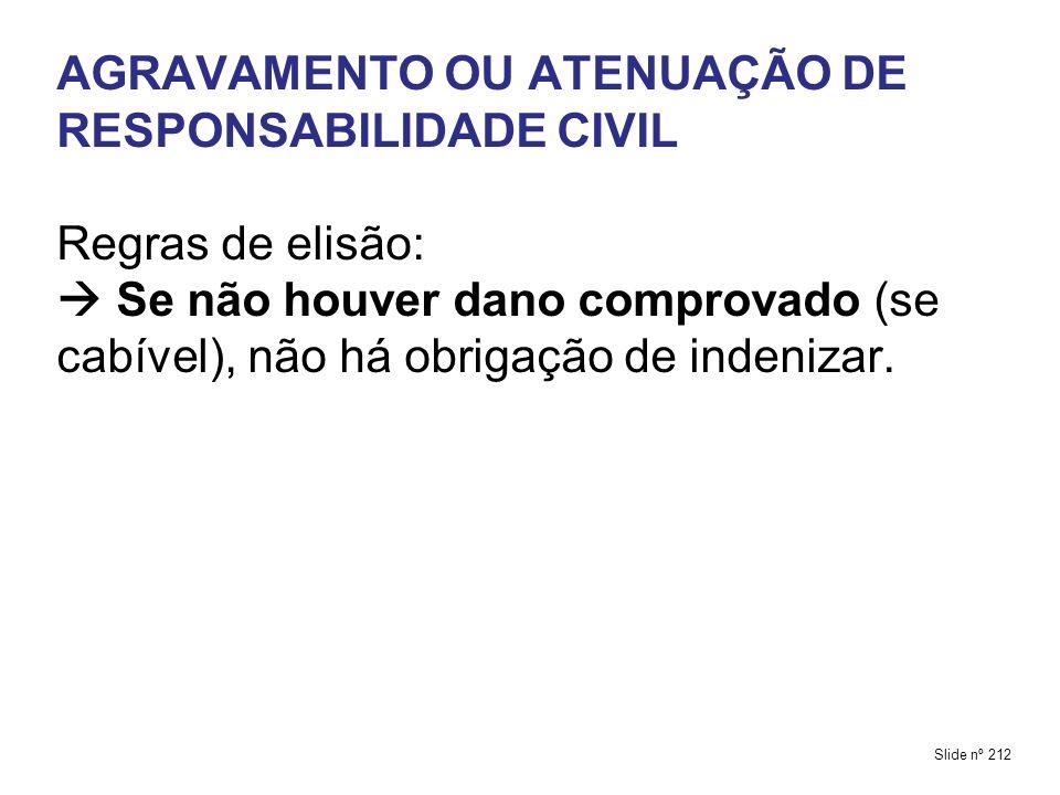 AGRAVAMENTO OU ATENUAÇÃO DE RESPONSABILIDADE CIVIL Regras de elisão:  Se não houver dano comprovado (se cabível), não há obrigação de indenizar.