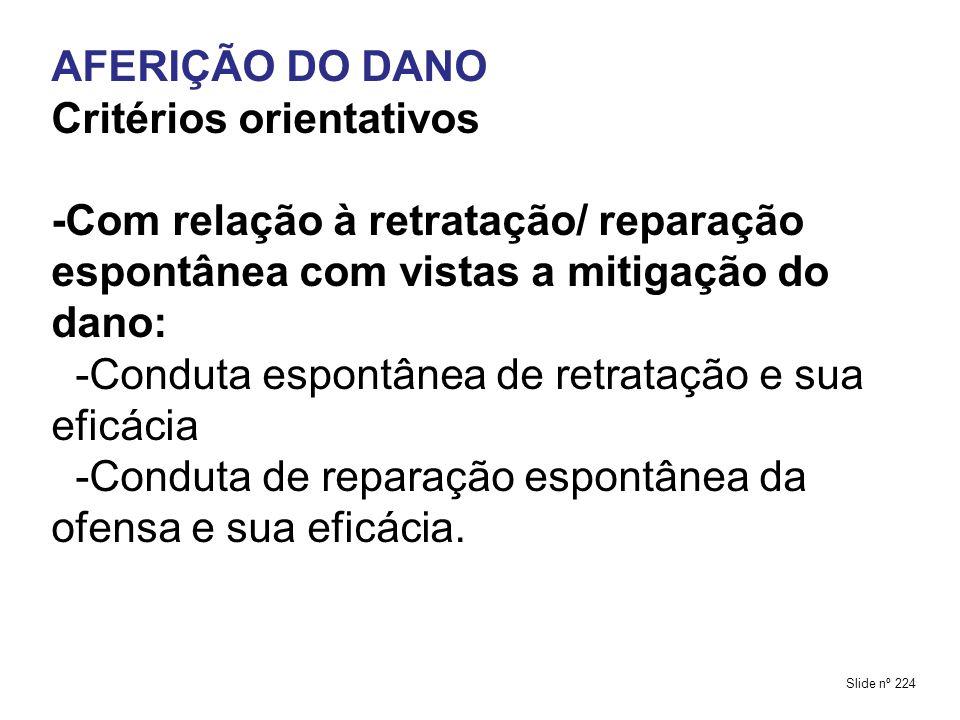 AFERIÇÃO DO DANO Critérios orientativos -Com relação à retratação/ reparação espontânea com vistas a mitigação do dano: