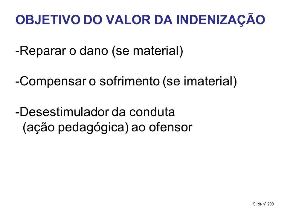 OBJETIVO DO VALOR DA INDENIZAÇÃO -Reparar o dano (se material) -Compensar o sofrimento (se imaterial) -Desestimulador da conduta (ação pedagógica) ao ofensor