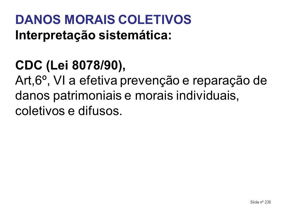DANOS MORAIS COLETIVOS Interpretação sistemática: CDC (Lei 8078/90),