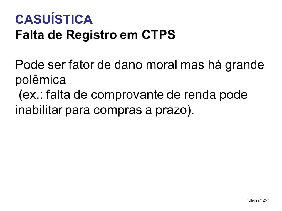 Falta de Registro em CTPS