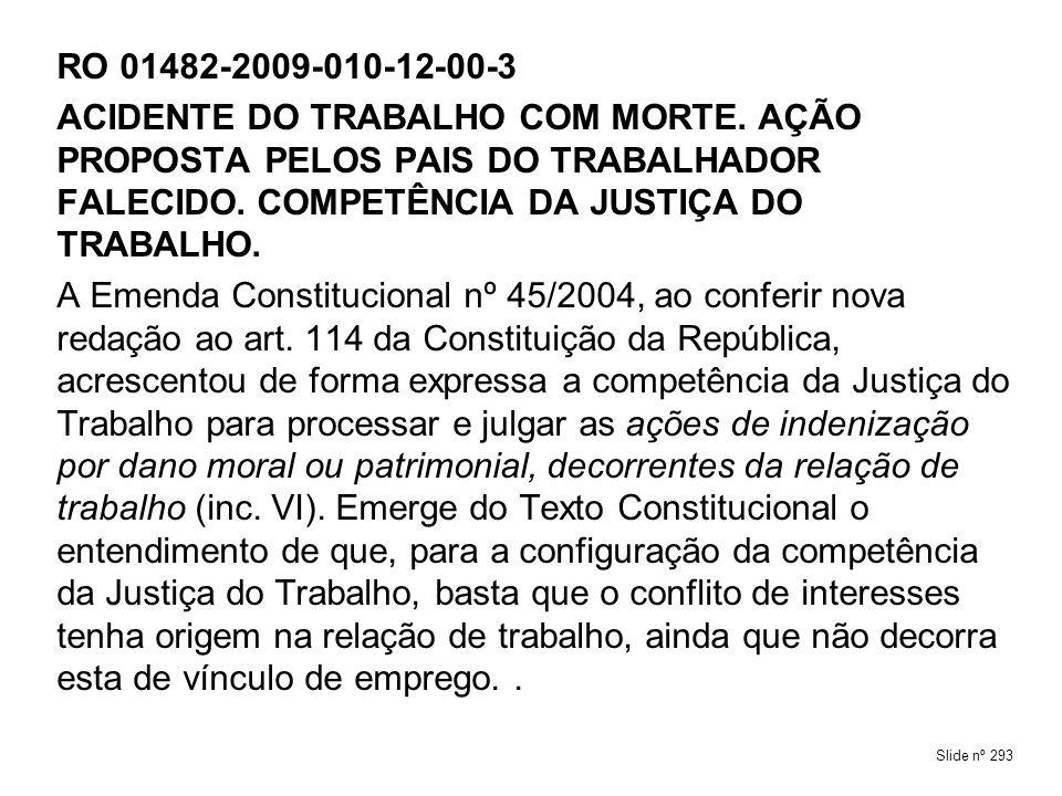RO 01482-2009-010-12-00-3ACIDENTE DO TRABALHO COM MORTE. AÇÃO PROPOSTA PELOS PAIS DO TRABALHADOR FALECIDO. COMPETÊNCIA DA JUSTIÇA DO TRABALHO.
