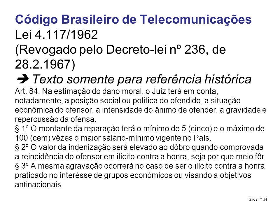 Código Brasileiro de Telecomunicações Lei 4.117/1962