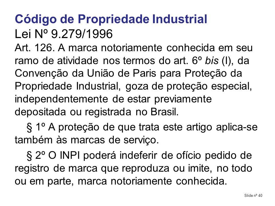 Código de Propriedade Industrial Lei Nº 9.279/1996