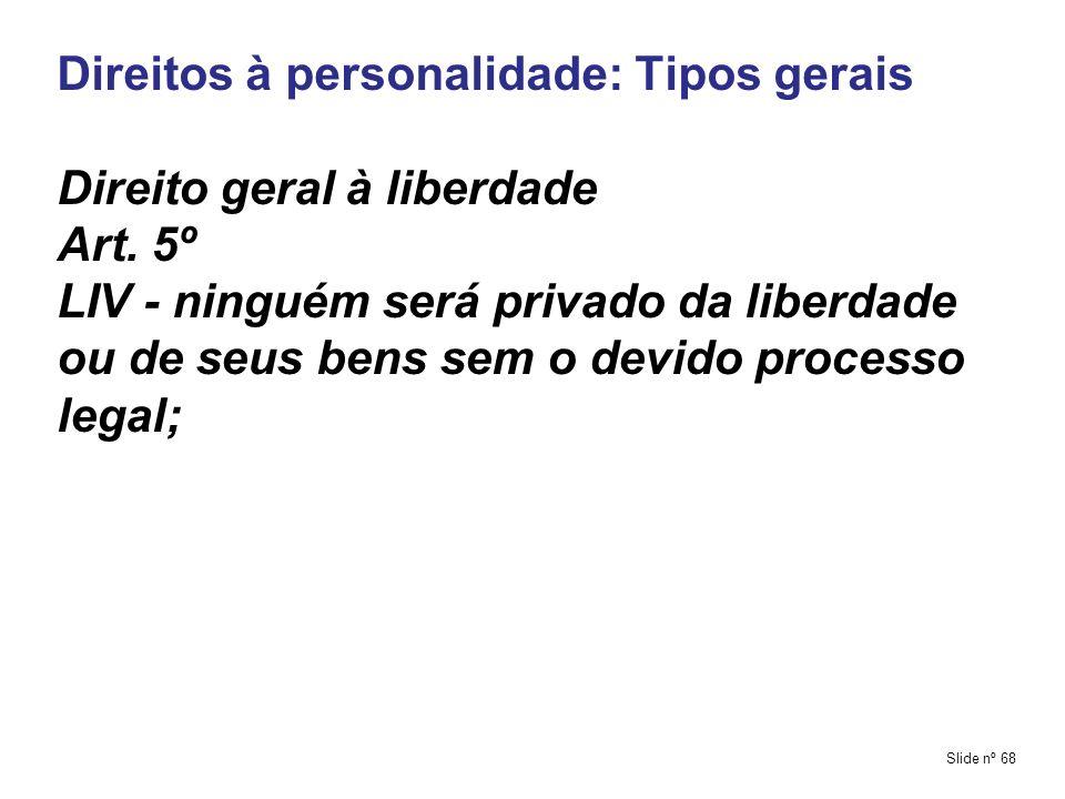Direitos à personalidade: Tipos gerais Direito geral à liberdade