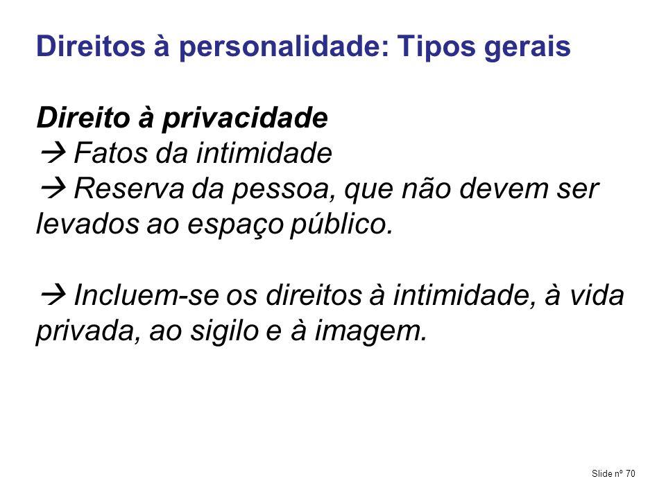 Direitos à personalidade: Tipos gerais Direito à privacidade