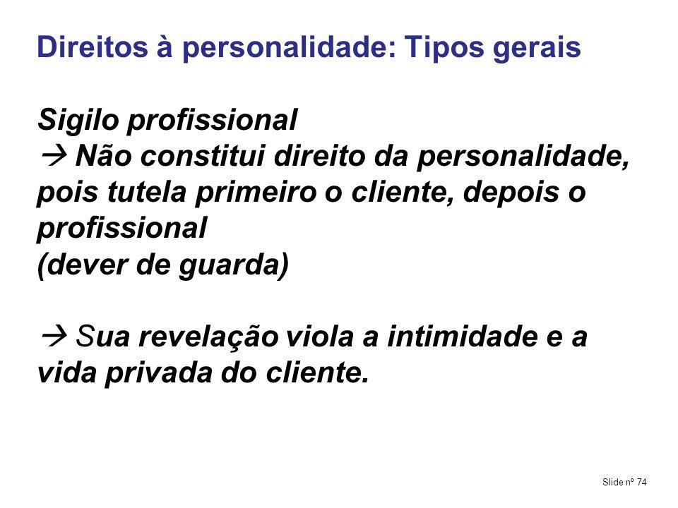 Direitos à personalidade: Tipos gerais Sigilo profissional