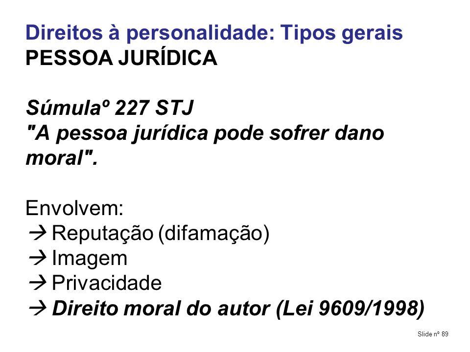 Direitos à personalidade: Tipos gerais PESSOA JURÍDICA Súmulaº 227 STJ