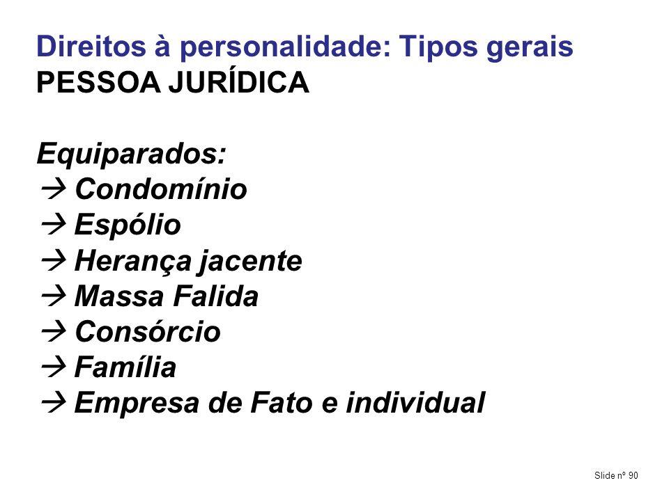 Direitos à personalidade: Tipos gerais PESSOA JURÍDICA Equiparados: