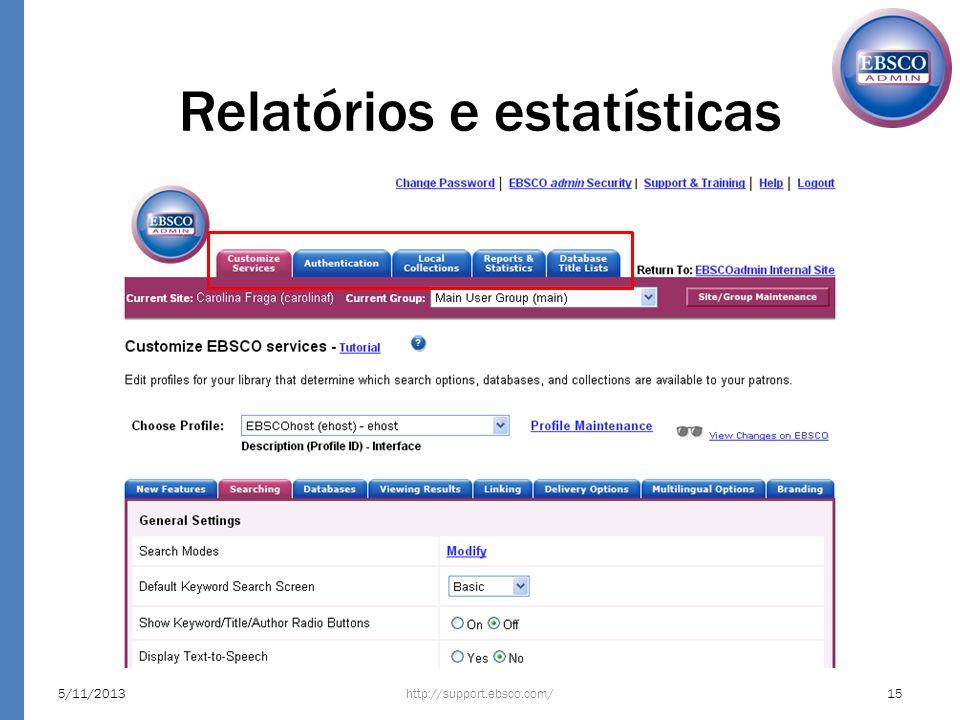 Relatórios e estatísticas