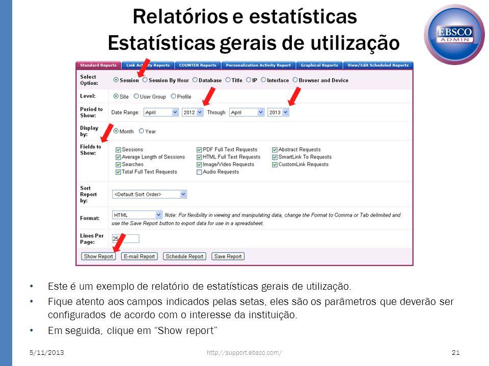 Relatórios e estatísticas Estatísticas gerais de utilização