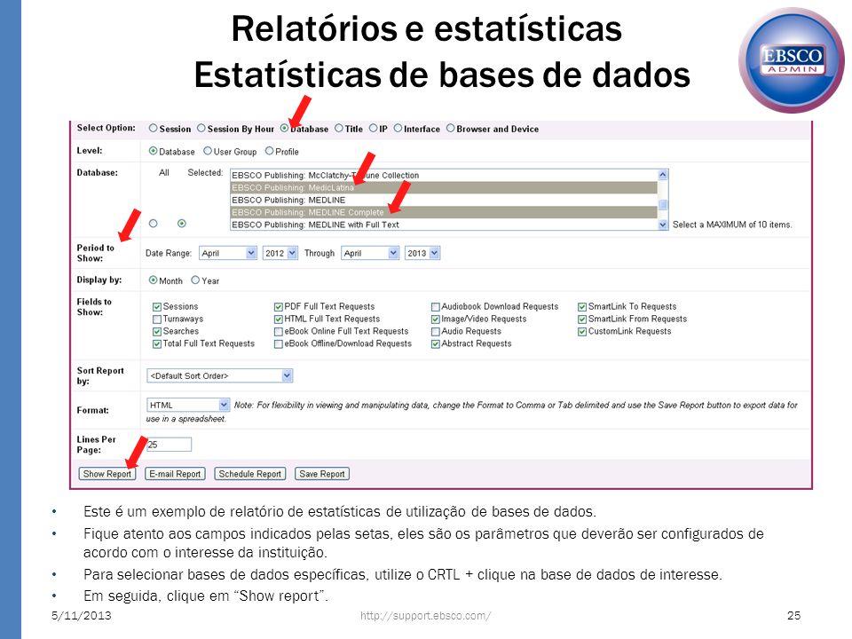 Relatórios e estatísticas Estatísticas de bases de dados
