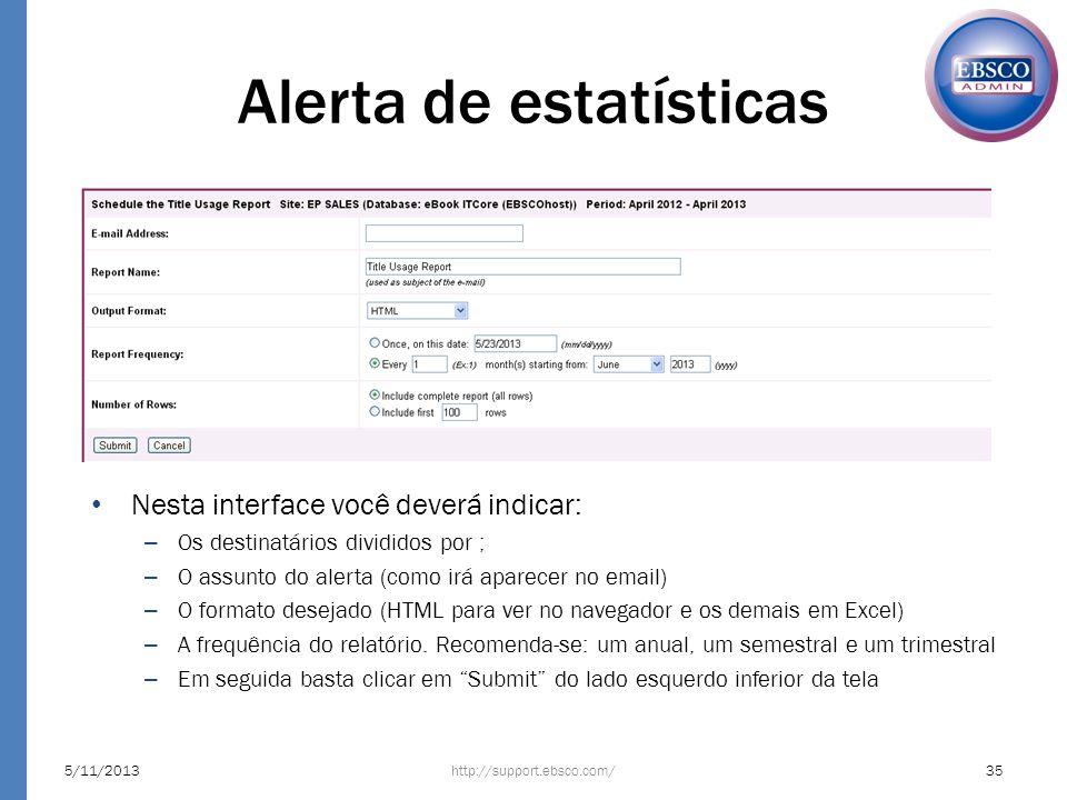Alerta de estatísticas