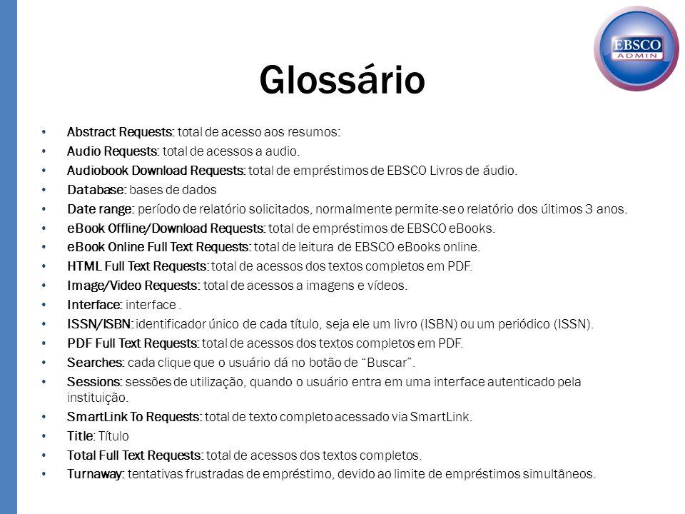 Glossário Abstract Requests: total de acesso aos resumos:
