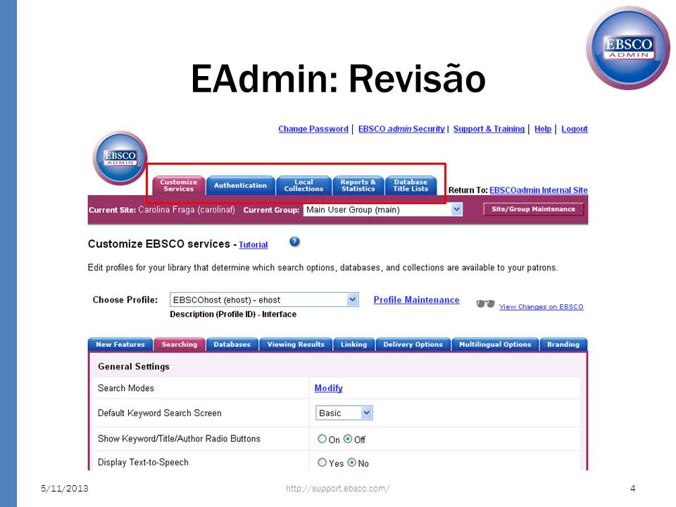 EAdmin: Revisão 23/03/2017 http://support.ebsco.com/