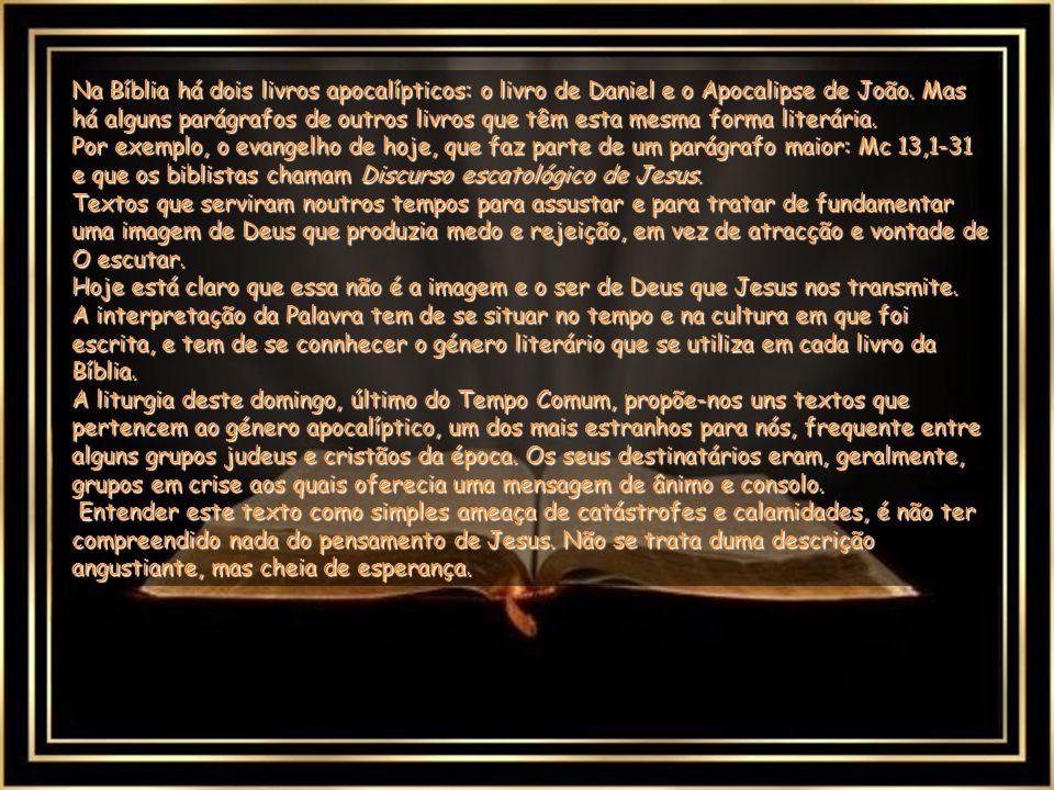 Na Bíblia há dois livros apocalípticos: o livro de Daniel e o Apocalipse de João. Mas há alguns parágrafos de outros livros que têm esta mesma forma literária.