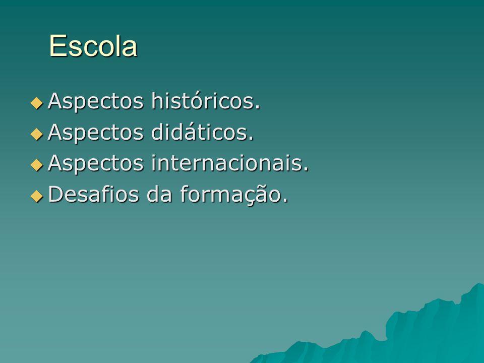 Escola Aspectos históricos. Aspectos didáticos.