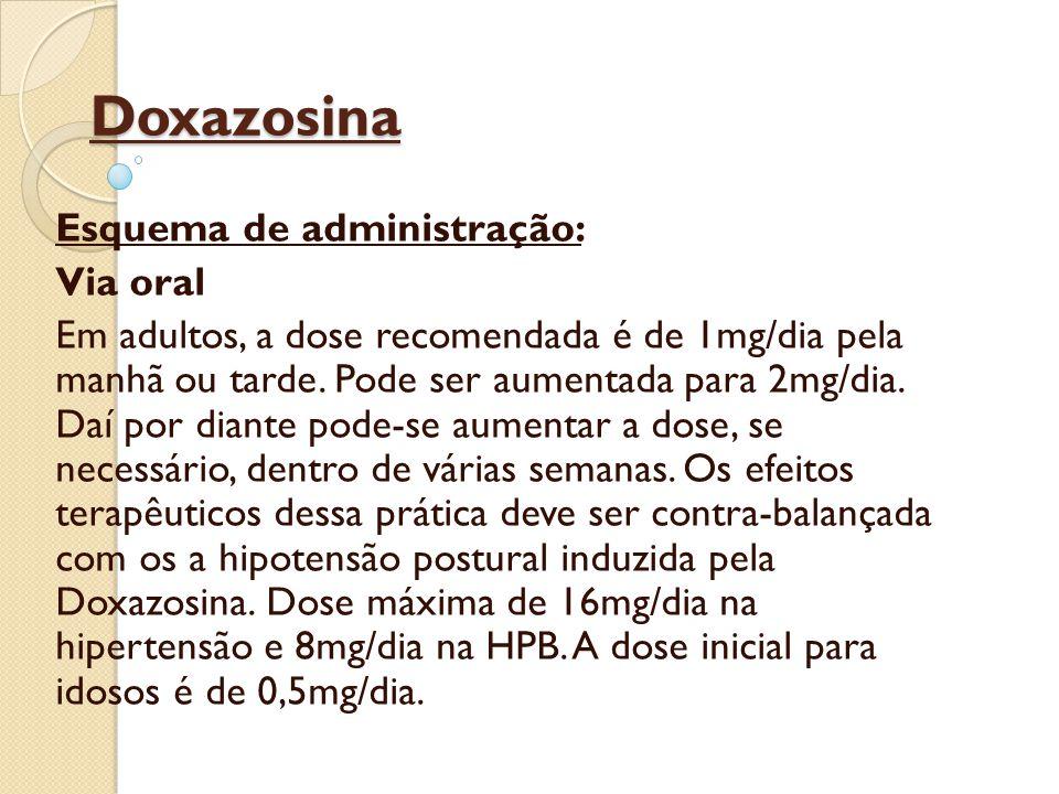 Doxazosina Esquema de administração: Via oral