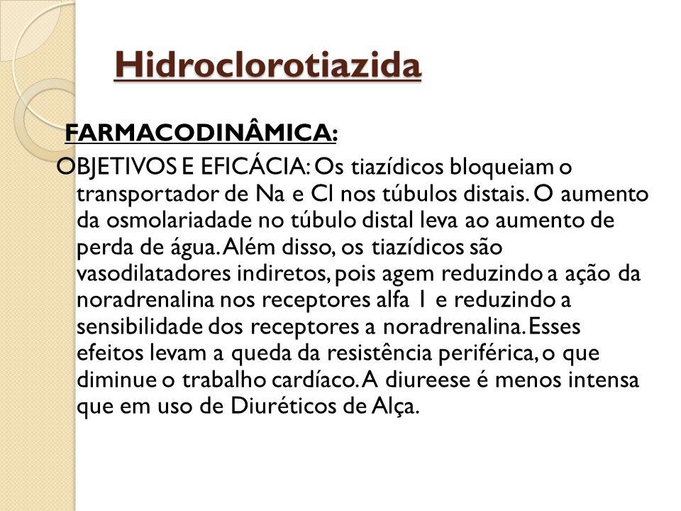 Hidroclorotiazida FARMACODINÂMICA: