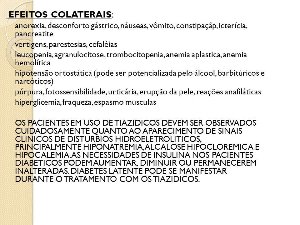 EFEITOS COLATERAIS: anorexia, desconforto gástrico, náuseas, vômito, constipaçãp, icterícia, pancreatite.