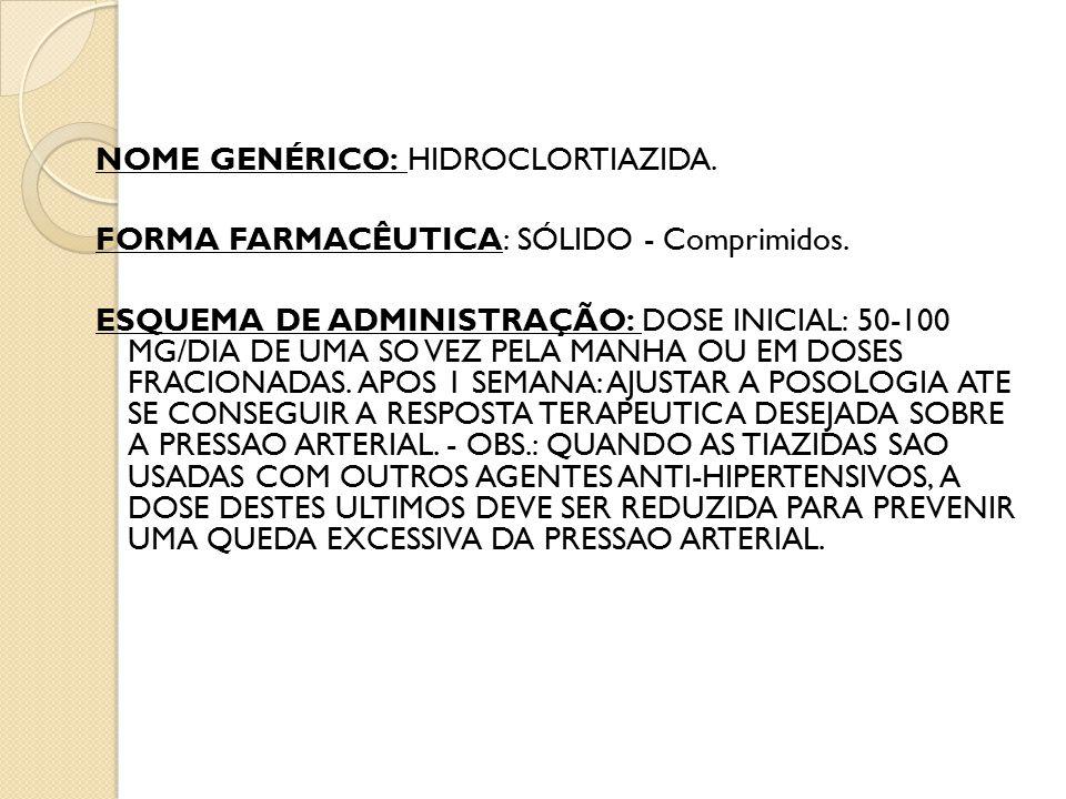 NOME GENÉRICO: HIDROCLORTIAZIDA