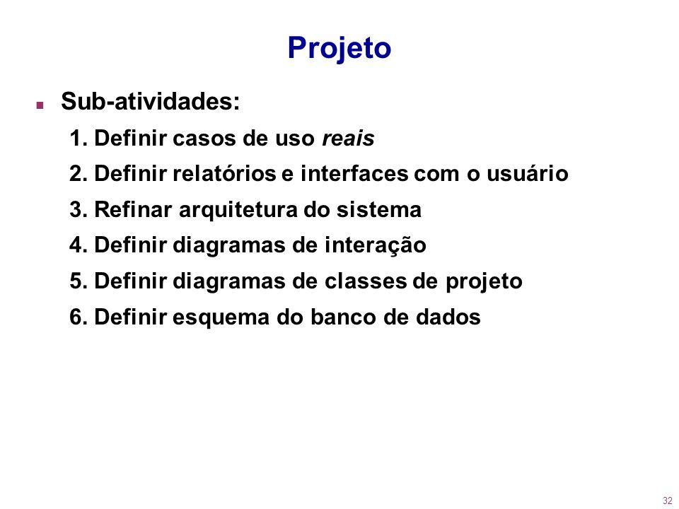 Projeto Sub-atividades: 1. Definir casos de uso reais