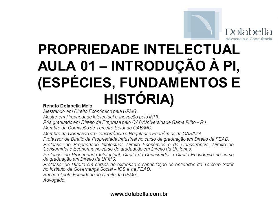 PROPRIEDADE INTELECTUAL AULA 01 – INTRODUÇÃO À PI, (ESPÉCIES, FUNDAMENTOS E HISTÓRIA)