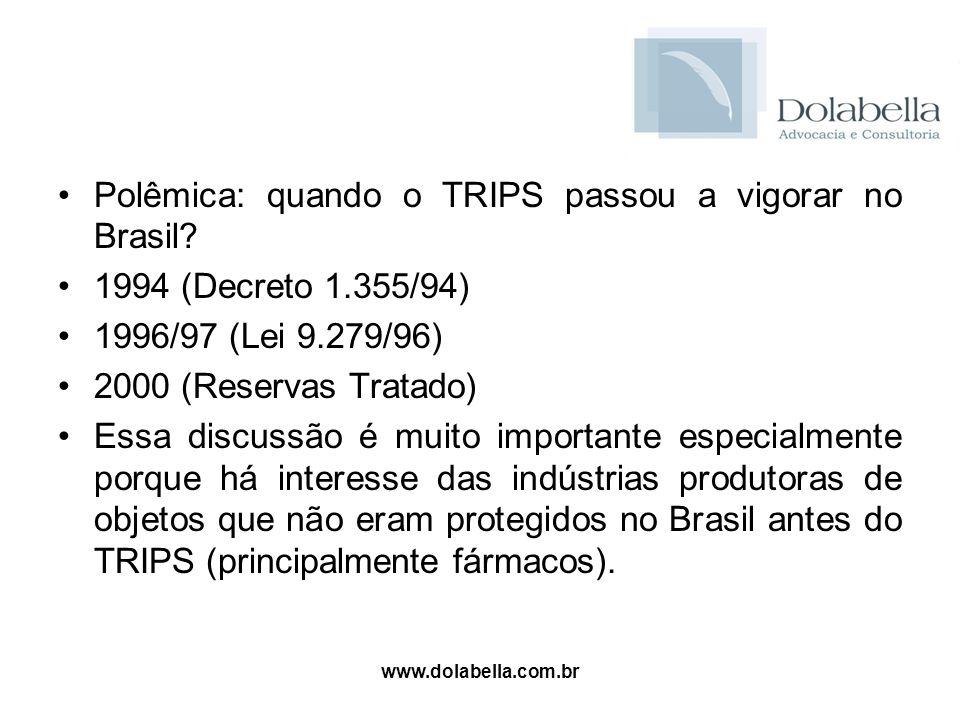 Polêmica: quando o TRIPS passou a vigorar no Brasil