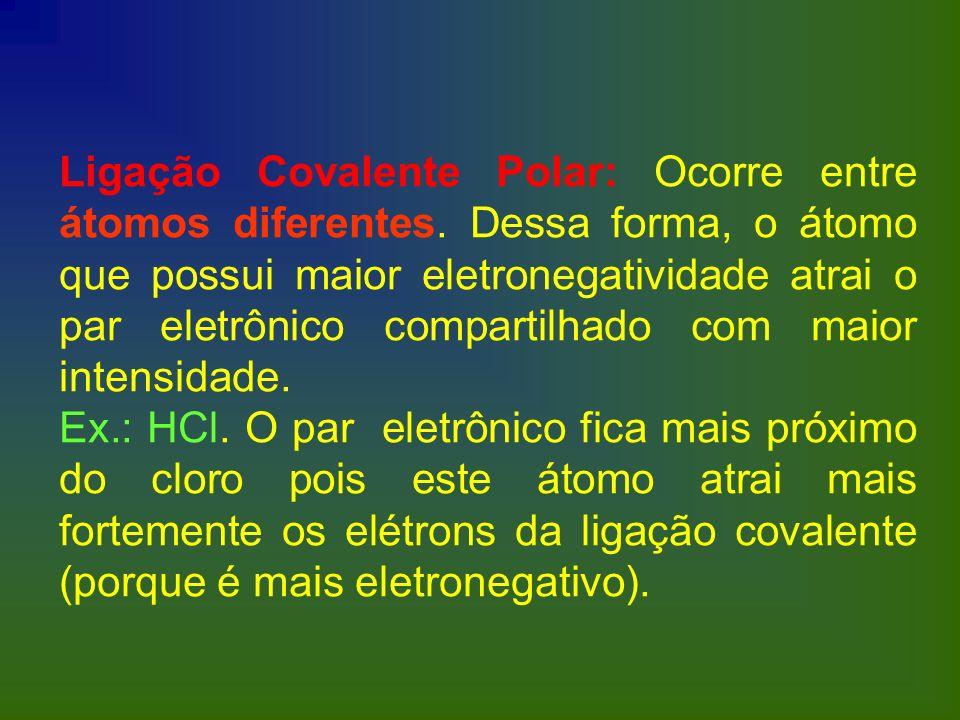 Ligação Covalente Polar: Ocorre entre átomos diferentes