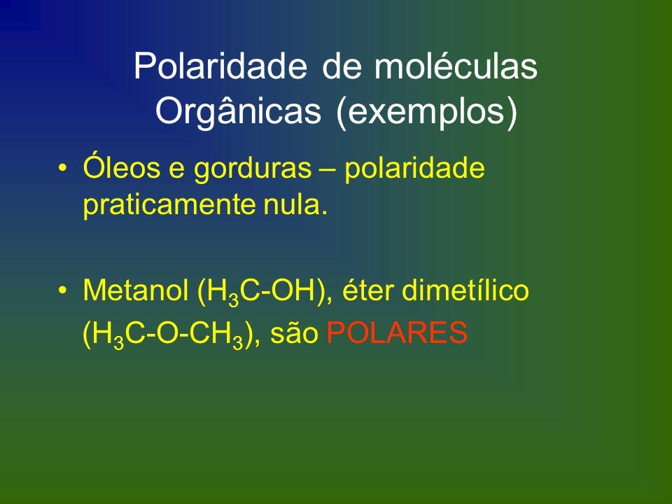 Polaridade de moléculas Orgânicas (exemplos)