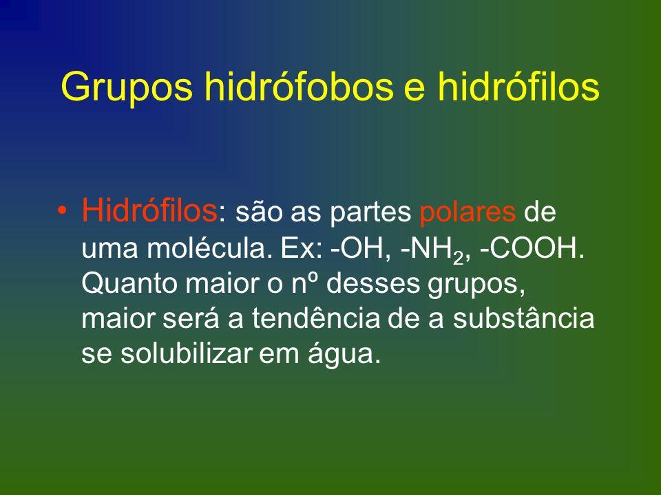 Grupos hidrófobos e hidrófilos
