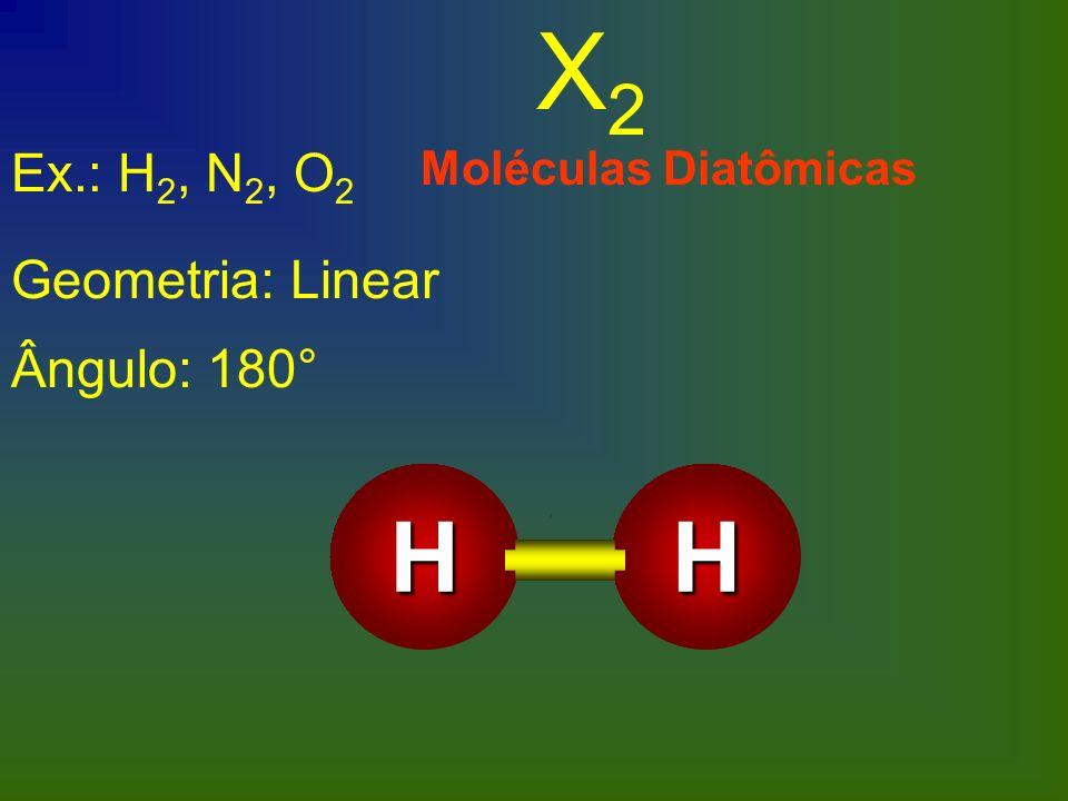 X2 H Ex.: H2, N2, O2 Geometria: Linear Ângulo: 180°