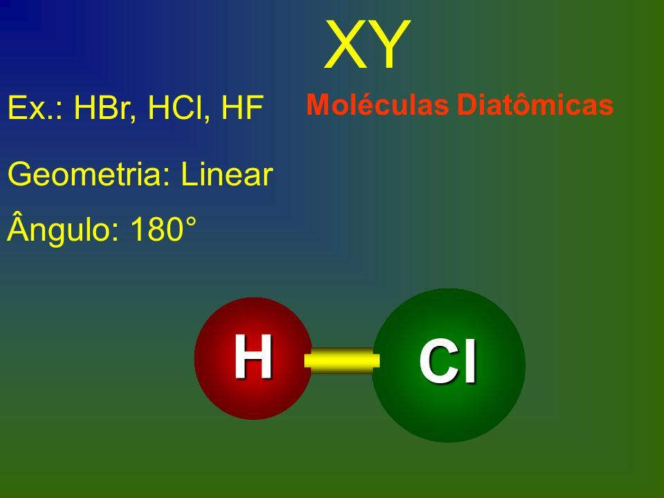 XY H Cl Ex.: HBr, HCl, HF Geometria: Linear Ângulo: 180°