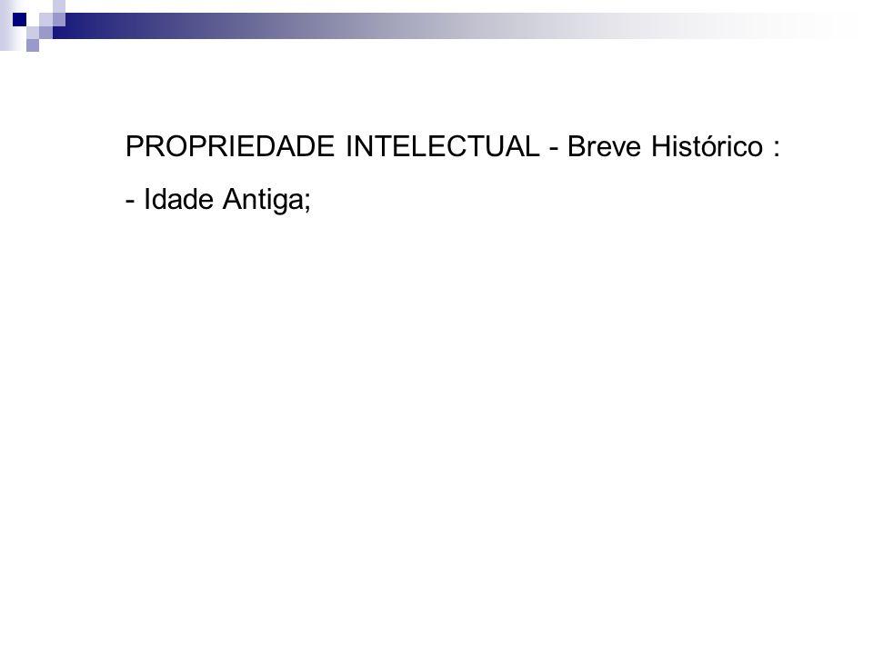 PROPRIEDADE INTELECTUAL - Breve Histórico :