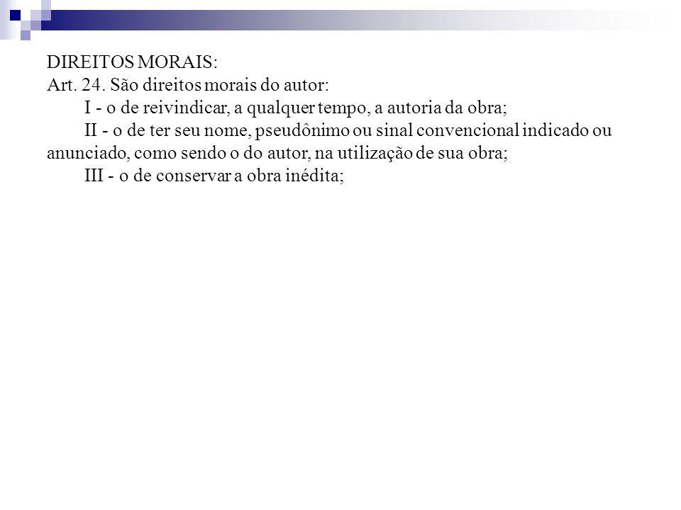 DIREITOS MORAIS: Art. 24. São direitos morais do autor: I - o de reivindicar, a qualquer tempo, a autoria da obra;