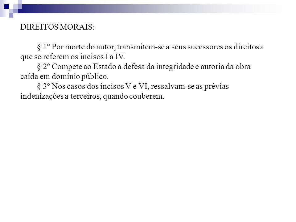 DIREITOS MORAIS: § 1º Por morte do autor, transmitem-se a seus sucessores os direitos a que se referem os incisos I a IV.