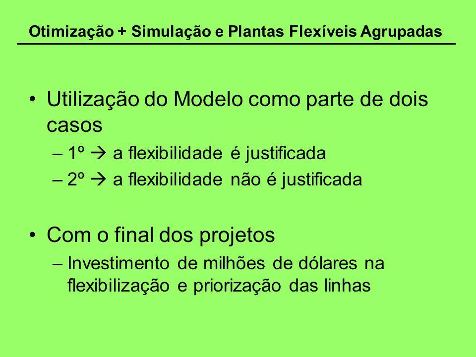Otimização + Simulação e Plantas Flexíveis Agrupadas