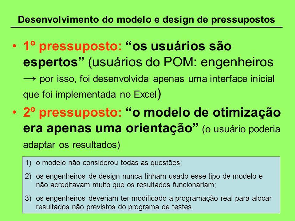Desenvolvimento do modelo e design de pressupostos