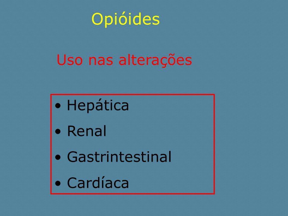 Opióides Uso nas alterações Hepática Renal Gastrintestinal Cardíaca