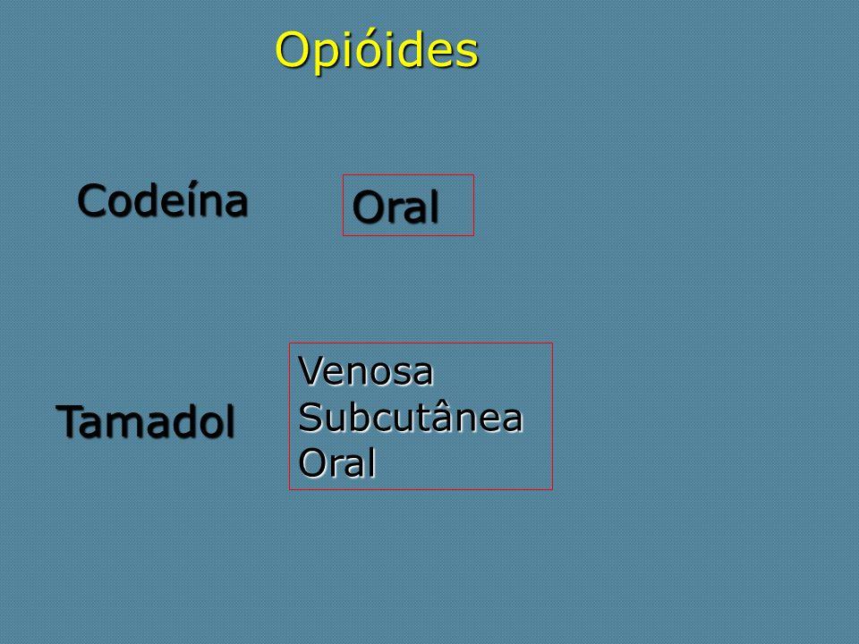 Opióides Codeína Oral Venosa Subcutânea Oral Tamadol