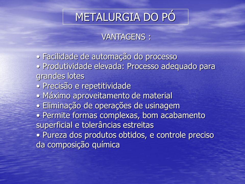 METALURGIA DO PÓ VANTAGENS : Facilidade de automação do processo